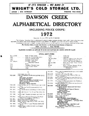 1972 Dawson Creek City Directory