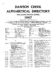 1967 Dawson Creek City Directory