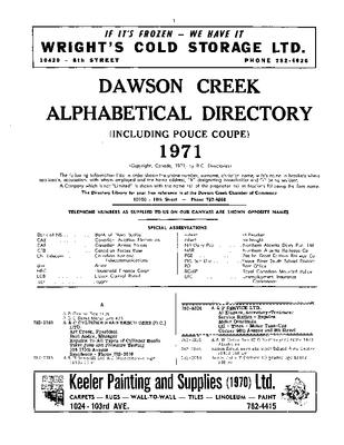 1971 Dawson Creek City Directory