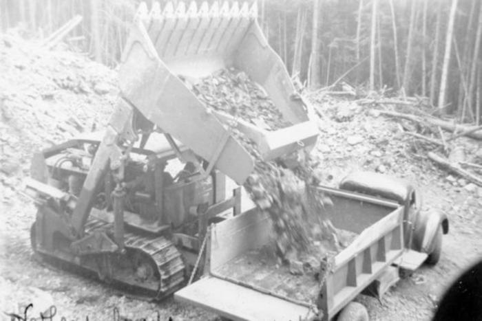 Overhead loader, Construction of Hart Highway, B.C. 1946