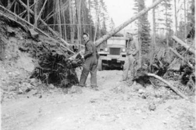 Tote Road between Camps 3 and 4, Hart Highway, B.C. 1946