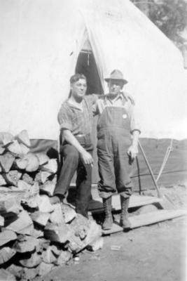 Howard and Stewart Hutchinson, Camp 2, Hart Highway, B.C. April 1946