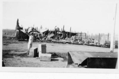Remains of building after Babcock Garage fire, Dawson Creek, B.C. June 1943