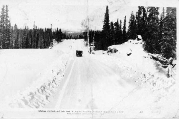 Snow clearing on the Alaska Highway near Squanga Lake, Yukon 1941-1944 Postcard