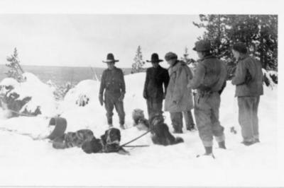 5 unidentified men with sled dogs, Alaska Highway 1941-1944