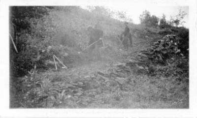 Road crew clearing the trail to Kinuseo Falls, Monkman Pass, B.C. 1938