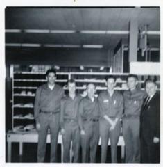 6 Postal Employees, William Reid (2nd from right), Dawson Creek, B.C., 1958