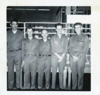 5 Postal Employees, Bill Reid (2nd on right), Dawson Creek, B.C. 1958