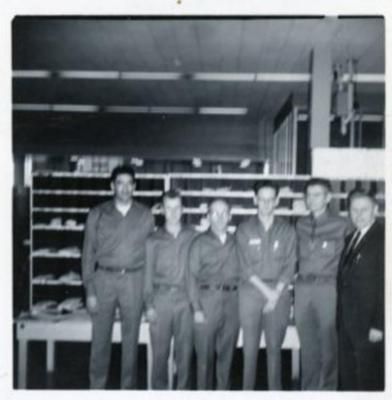 6 Postal Employees, William Reid (2nd from right), Dawson Creek, B.C., 1958