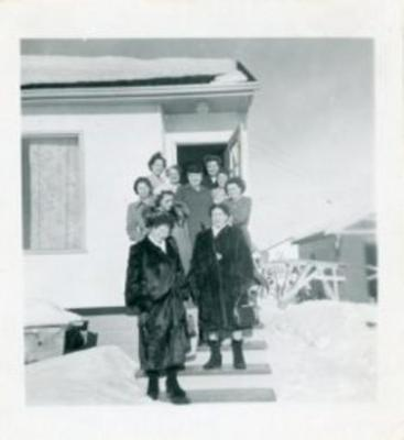 Rolla W.I. members, (left top down) Mrs. Tom Wilson, Mae Lewis, Verna Braden, Jessie Forbes; (right top down) Eunice Henderson, Edna Tibbits, Hollis Johnson, Marie Querin (middle) Janet Downie, Feb. 1951