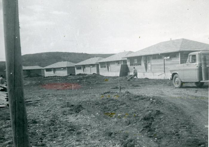 Bungalows at Westcoast Energy housing site, Taylor Flats, B.C., August 1957