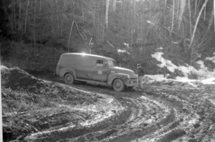 """Black Maria"" and muddy roads, 1957"