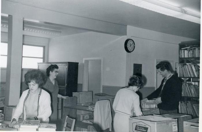 Diane Connelly, Wilma McGivern, Tony Kuenzl (not in order), Public Library Commission, Dawson Creek, BC, March 1964