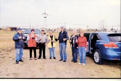 The Crew that moved the cabin donated by Doris Cox. Cliff Washington, Anne Haycock, Lorri Myatt, Marlene Bily, Stu Flinn, Rosalyn Golinsky, & Marg. Flinn, October 7, 2012