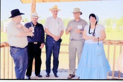 Pioneer Village Annual Opening and Opening of the Trappers Cabin, Cliff Washington, Lorri Myatt, Stu Flinn, Charlie Parslow, and Anne Haycock. June 21, 2013