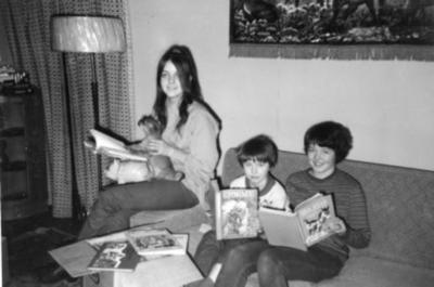 Aven children, Mile 171, Mason Creek Lodge, January 1971