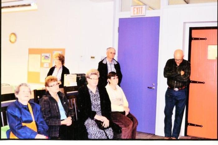South Peace Historical Archive, Appreciation Event for EnCana , Ellen Schoen, Edna Lutz, Marg Flinn, ?, Barb Knoblaugh, Lyle Braden, and Charlie Parslow. June 16, 2015