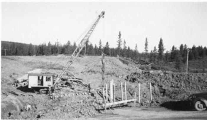 Driving pilings at 75J, Alaska Highway, 1942-1943