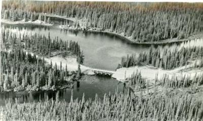 Aerial view of unidentified bridge on Alcan Highway, Alaska Highway, 1942-1943, Postcard