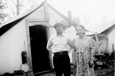 Violet & Husband Cumming, July 1943, related to story in 2003.013.011