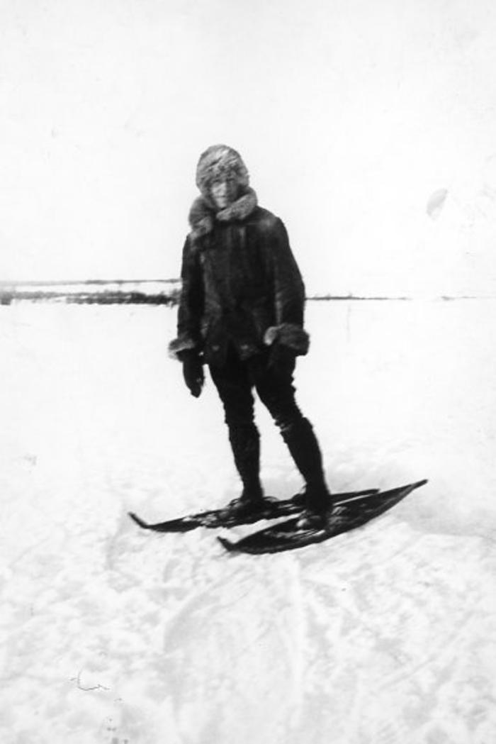 Frank Golata on his homemade snowshoes. 1913-1920