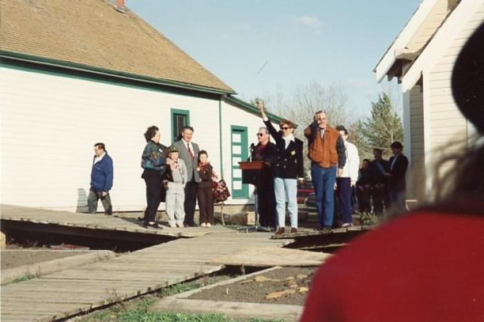Brian Mulroney and Wife Mila, at the Pioneer Village, Dawson Creek, BC April 30, 1992
