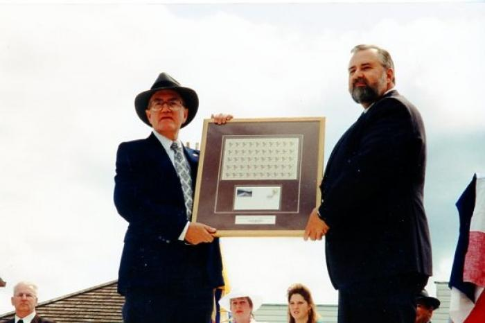 Opening Day Pioneer Village, SPHS president Day Roberts and Ted Scout, with Stamp presentation. Dawson Creek, BC, May 30, 1992