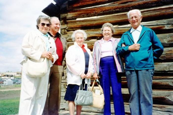Opening Day Pioneer Village, Ellen, Walter and Mrs. Schoen, and Thelma and Nick Cosick. Dawson Creek, BC May 30, 1992
