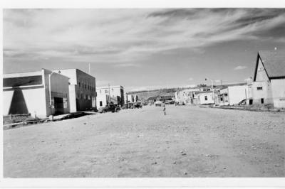 10th Street looking north to NAR Station, Dawson Creek, BC ca 1947 postcard