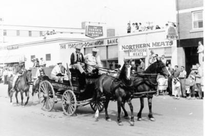 Parade - White Pass & Yukon Route Carriage, Dawson Creek, BC, August 1961