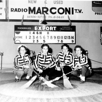 Mid Summer Bonspiel, Ladies from Edmonton, skip; Edna Pickering, 3rd; Flora Macdonald, 2nd; Ev Ching, lead Danny Dundas. Dawson Creek, BC, August 1961