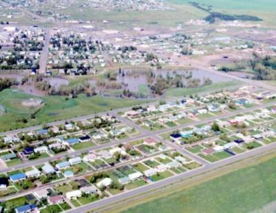 Aerial view Kin Park, Flood, Dawson Creek, BC, July 15, 1974