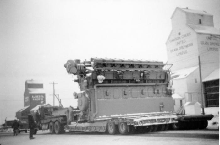 Loiselle Transport hauling a large generator for the BC Power Commission, Dawson Creek, January 1957