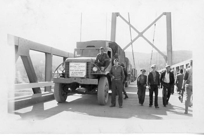 First official truck over Peace River Bridge, Taylor, BC August 1943