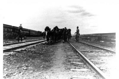 US Army troops arriving in Dawson Creek, BC, March 1942