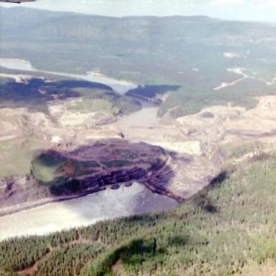 Aerial View, Dam Site, Hudson Hope, B.C., June 1964
