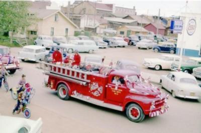 Fall Fair Parade, Fire Truck No. 2, Dawson Creek, BC, August 1955