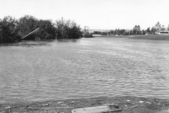 Kin Park, Soap Box Track during the Flood. Dawson Creek, BC July 16, 1974