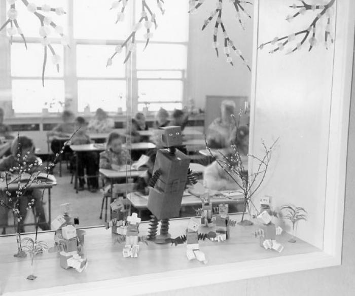 Show windows looking from corridor into classroom, Dawson Creek Elementary, 1952