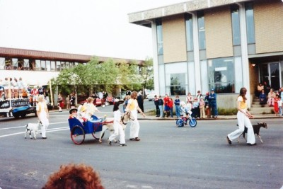 Fall Fair Parade, Goat Cart, Dawson Creek, BC August 1980