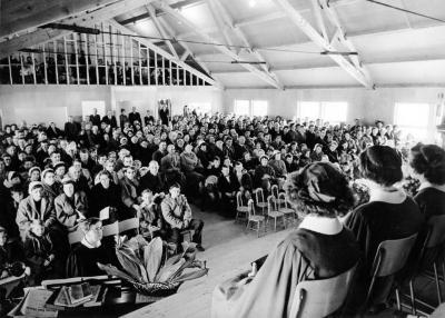 1st Church Service in Auditorium Area of First United Church, (South Peace United), Rev. S. Reinkie, Dawson Creek, BC November 6, 1955